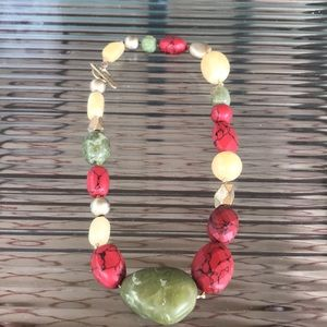 Sigrid Olsen Beaded Necklace Chunky Red Green